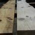 Terrassentisch aus Holzbohlen und Metall_1